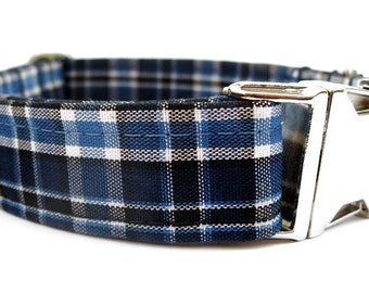 Navy Blue Plaid Dog Collar with Nickel Plate Hardware