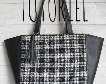 Tutoriel du cabas Clara bi matière, créez facilement ce sac à main, porté épaule, simili cuir et tissu, et sa poche intérieure zippée