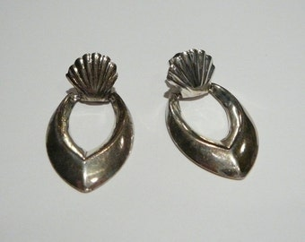 Vintage Sterling Silver hoop earrings Door knocker Doorknocker