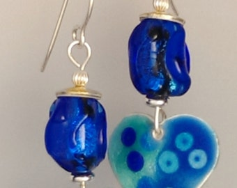 Earrings - Royal Blue Japanese Beads and Enamel Hearts