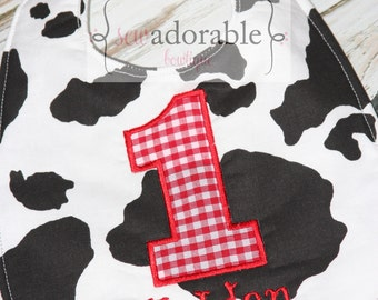 First Birthday Cow Themed Bib - FREE MONOGRAMMING