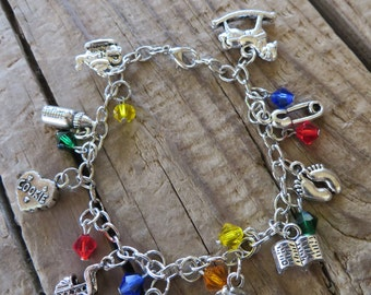 Daycare Babysitter Themed Silver Charm and Crystal Bracelet