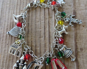 Wizard of Oz Inspired Silver Charm and Crystal Bracelet