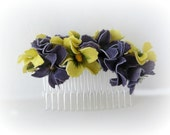 Wedding Hair Comb, Rustic Hair Comb, Purple And Yellow Flower Hair Comb, Rustic Wedding Hair Comb, Bridal Accessories, Rustic Weddings