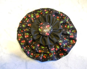 Fabric Flower in Black Cotton Cherry Print with Matching Fabric Button Center, Fashion Accessory