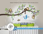 Super Large Jungle Monkey Wall Decal with name, initial and one owl for nursery decor.Monkeys Tree branch wall decal with 3 monkey -d561