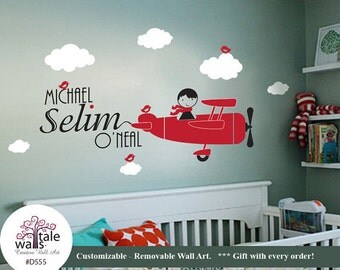 Airplane Name Boy Wall Decal with cute birds and a boy. Personalized Air force wall decal.d555