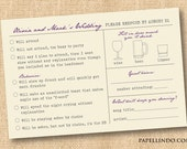 Funny vintage wedding Mad Libs reply RSVP card printable digital file DIY