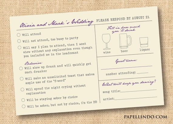 Funny Vintage Wedding Mad Libs Reply Rsvp Card Printable