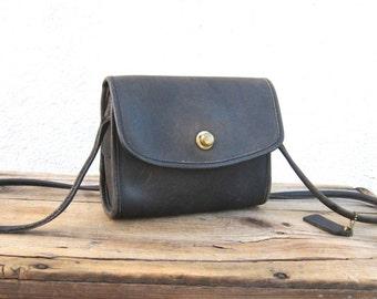 Vintage COACH Small Distressed Black Leather Satchel Bag