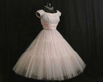Vintage 1950's 50s Bombshell Baby PINK Tulle Taffeta Flocked Swiss Dots PROM Party Wedding Dress Gown