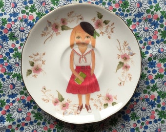 Sophie Baker Bunny with Floral Vintage Illustrated Plate
