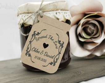wedding favour jam jar gift tags thank you tags spread the love set x32