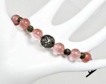 Cherry Quartz and Antiqued Brass Beads Bracelet