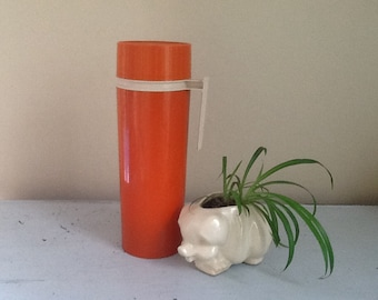 Vintage Orange Thermos - Made in the USA, Large Thermos,
