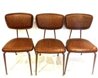 Sale vintage Daystrom chairs - FOUR wood plybak reptile-print mid century kitchen chairs set