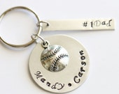 Personalized Father's Day Gift from Kids, Keychain, Key Fob, Silver Plated, Customized Keychain, Personalized Baseball Keychain, Sport