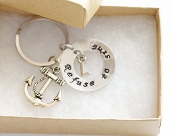 I Refuse to Sink Necklace Keychain, Personalized I Refuse to Sink, Inspirational Necklace Keychain, Anchor Keychain, Anchor Necklace Jewelry