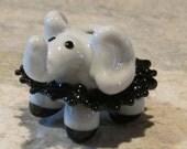 Black Tutu Ballerina Gray Grey Elephant Lampwork Glass Handmade SRA NLC Beads leteam