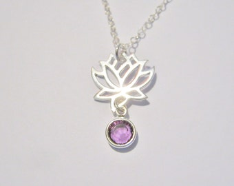 SALE 20% off! SALE Customized Lotus Flower Necklace, Silver Lotus Flower Pendant, Birthstone Necklace, Bridesmaid Necklace
