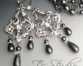 DENISE Dark Grey Pearl and Rhinestone Chandelier Bridal Earrings