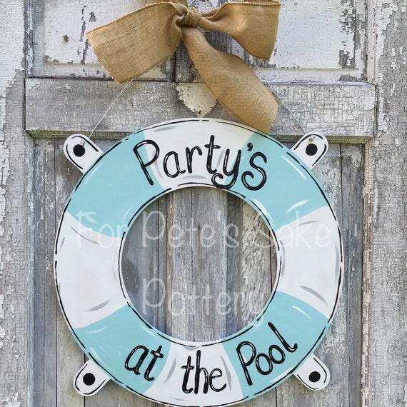 Life preserver door hanger, Lake door hanger, Pool theme door hanger, On the river sign, Rolling on the river sign, boat door hanger