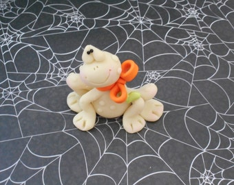 FREE SHIPPING! Polymer Clay Glow in the Dark Frog with Orange Bow - FIGURINE