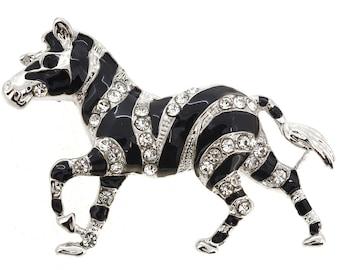 Black Enamel Zebra Brooch 1001501