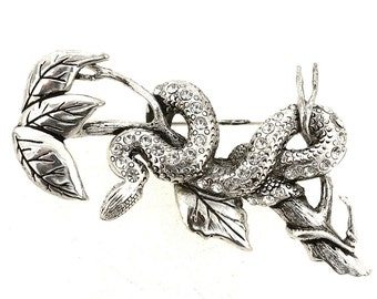 Silver Serpent On A Tree Pin Brooch 1004472