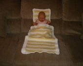 Knit Yellow & White Stripe Doll Blanket And Pillow With Crochet Trim