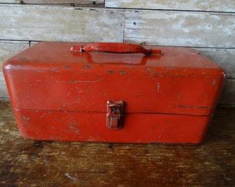 Vintage Red Chic Metal Industrial Tool Box