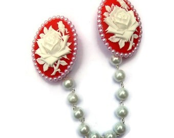 Red and White Rose Cameo Sweater Clip With White Pearls, Retro Cardigan Clip, Rockabilly Sweater Guard, Pinup, Vintage inspired