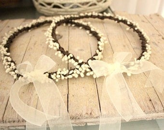 Ivory WEDDING Crowns - Wedding Greek Stefana cream berries STEFANA Wedding Crowns - Off white Orthodox Stefana - Bridal wreaths Crowns