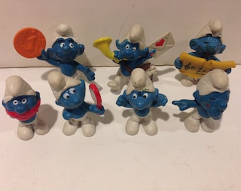 Set of 7 Vintage Smurfs