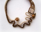 Crochet Necklace Wearable Art Free Form Design Ecru Brown