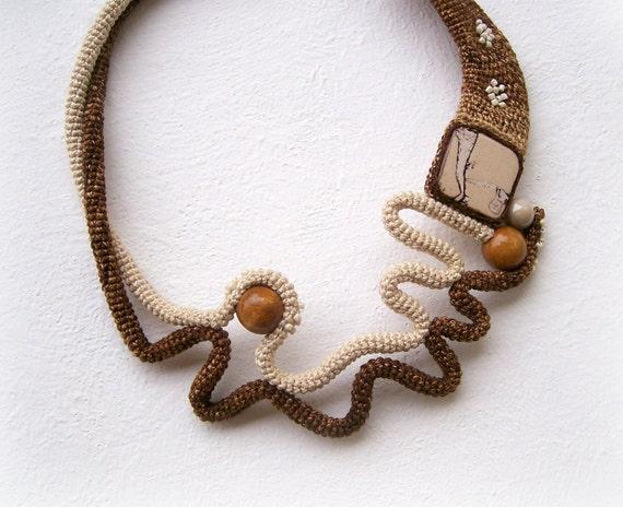 Crochet Necklace Wearable Art Free Form Design Ecru Brown