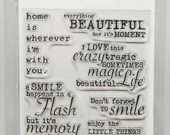 KaiserCraft Blue Bay Collection Clear Stamps -- Acrylic -- Beautiful Moment Smile Magic Home