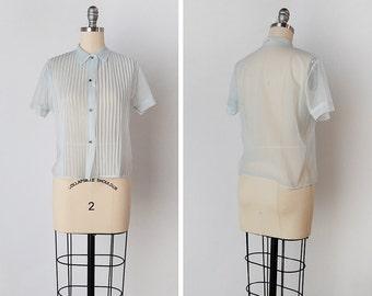 vintage 50s top / 1950s nylon blouse / 50s nylon top / Sargent Blue top