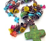 Day of the Dead jewelry unique Day of the Dead necklace Dia de los Muertos jewelry stone cross necklace