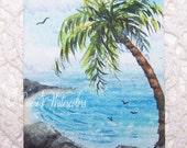 ACEO Original Watercolor Palm Tree Summer Miniature ACETSY Team SFA Seascape