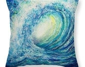 Blue Wave Throw Pillow of Watercolor Painting- Home Decor Gifts for Sea or Beach Lovers Seascape Decoration Pillow and Cover