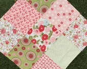 COUTURE Stroller baby blanket. Quilted 30x30 Fleece back.