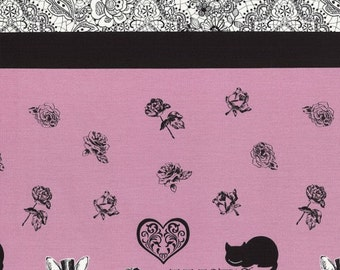 Judie's cotton 2015 featuring Alice in lilac with black lace and text by Lecien 40535L-20 Koko Seki