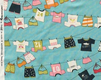 Lucy's Crab Shack clothesline aqua moda fabric FQ or more OOP HTF
