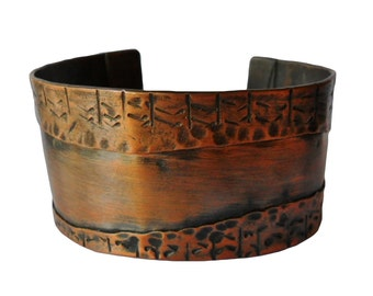 Mens or Womens Hand Crafted Copper Cuff Braclet