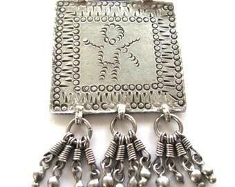 RARE: Antique Indian Amulet, Ethnic Tribal, Folk Goddess Devi Pendant, Himachal Pradesh, West Himalayas, India, High Grade Silver, 29 grams