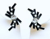 Black Baguette Earrings - Mid Century Mod Spikey Rhinestone Earrings - Black & White Designer Signed Weiss Clip on's