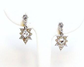 Clear Rhinestone Dangling Earrings - Vintage Designer Signed ALBION
