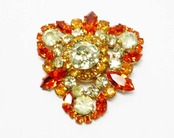 Vintage Rhinestone Brooch - Yellow & Orange Austrian Crystal Pin Made in Austria Signed - European Mid Century Jewelry