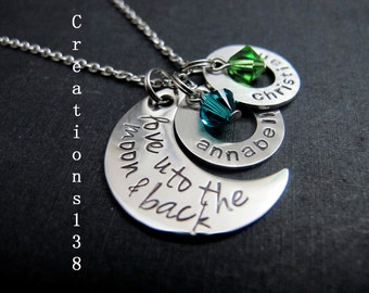 Personalized Hand Stamped I Love You To The Moon And Back Necklace, Gift for her, mother child necklace, moon necklace